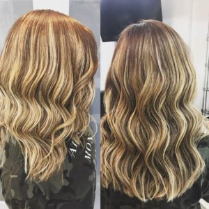 16 in curly hair extensions with blonde highlights