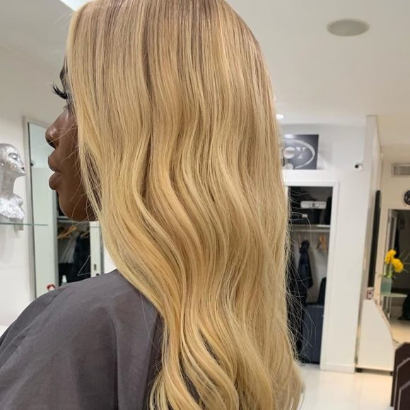 lift dark hair to platinum extensions amoy couture hair NYC
