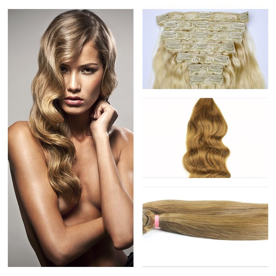 clip in hair extensions model