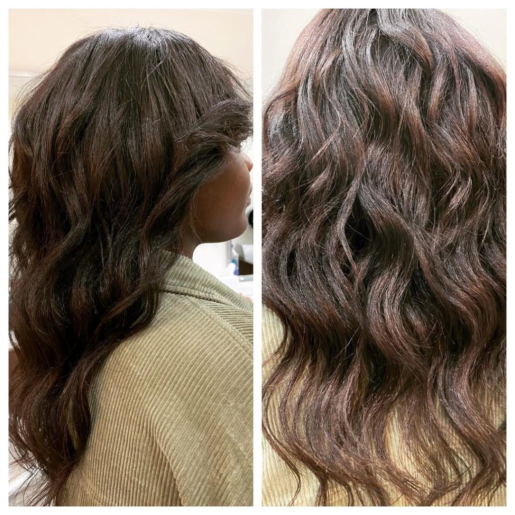 single process hair color, haircut with layers and wave Manhattan amoy couture salon