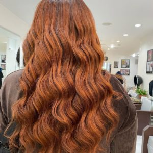 dark hair with red highlights amoy couture NYC